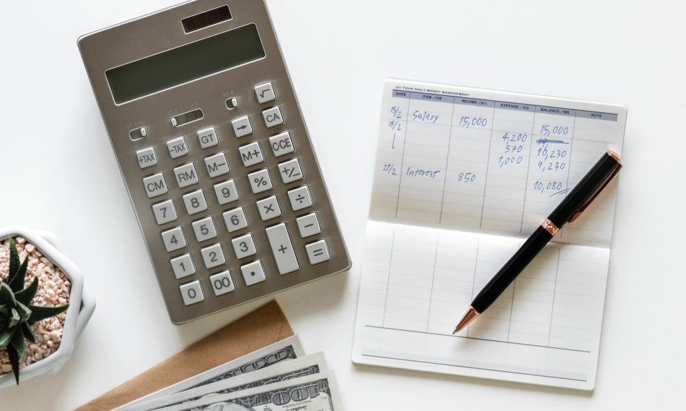 Calculator being used